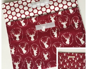 Diaper Clutch - Burgundy Maroon Deer Head Antler - Diaper Wallet - Diaper Pouch - Diaper Bag Organizer