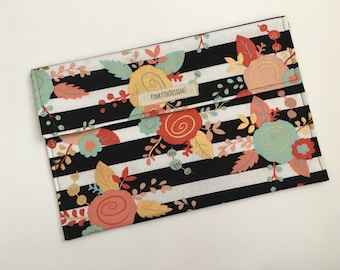 Diaper Clutch - Black & White Stripes with Coral, Mint, and Gold Flowers - Diaper Wallet - Diaper Pouch - Diaper Bag Organizer