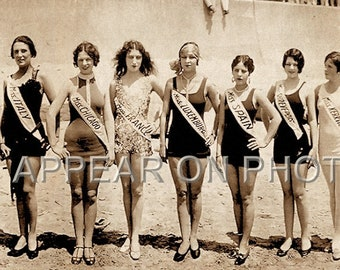 """34"""" Long 1927 Bathing Beauties Reproduction Panoramic Galveston TX Pageant of Pulchritude"""