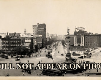 Beautiful Antique Linen Postcard of Columbus Circle in New York