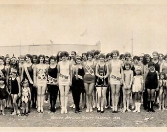 1926 Bathing Beauties Venice CA Vintage Panoramic Photograph