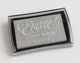 Silver Stamp Ink Pad, Ultimate Metallic, Encore Tsukineko, Metallic Silver Ink, Metallic ink pad, Scrapbooking, Silver ink pad, Card making