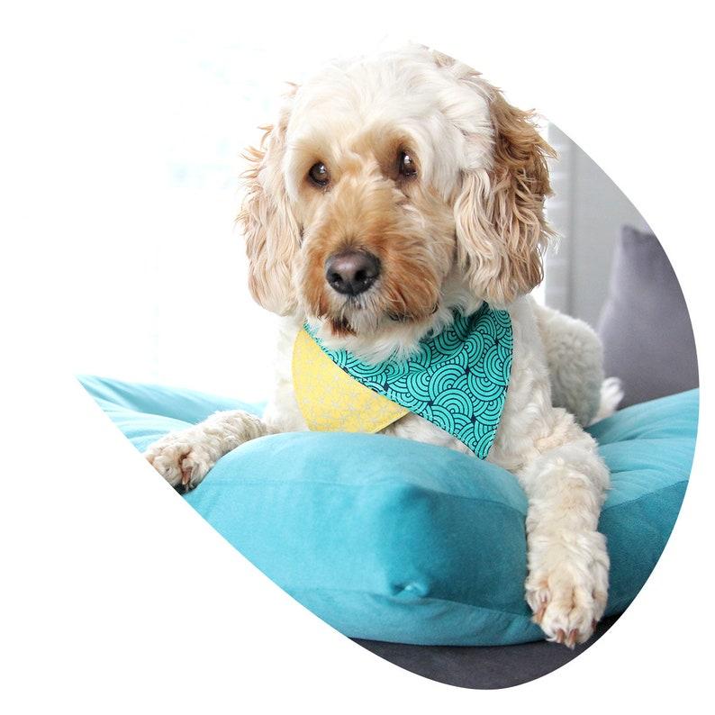 Reversible Slip On Bandana Dog Accessory Dog Bandana Waves /& Shores