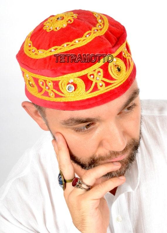 BROWN FEZ VELVET HAT HANDMADE CAP EXOTIC COSTUME HALLOWEEN EXOTIC