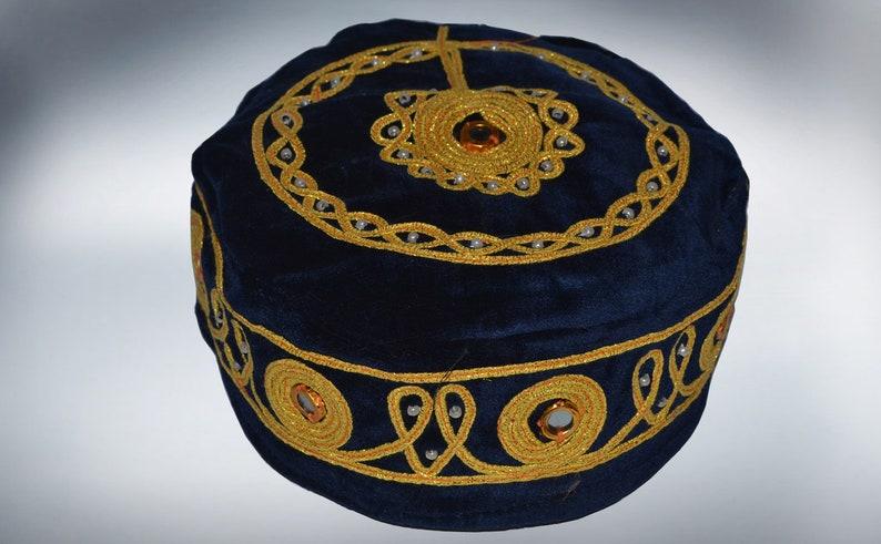 DARK BLUE med\u0131eval folklor\u0131c fez velvet hat handmade cap exot\u0131c ottoman costume m\u0131rror