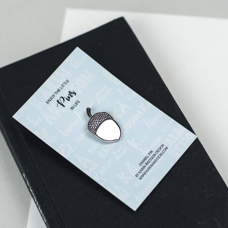 nickel soft enamel pin cute pin silver and black Acorn Enamel Pin brooch lapel pins shiny pin lucky pin jewellery