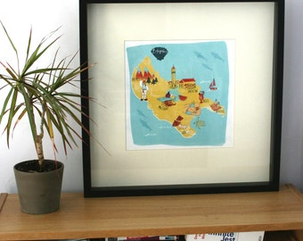 Illustrated Map of Zante/Zakynthos, print