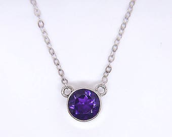 "Arizona Amethyst Bezel Necklace Gemstone Jewelry, Handmade in Sterling Silver from Tempe, AZ, 6mm Round, 16"" Chain"