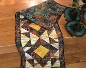 Quilted Table Runner Wall Hanging Skinny Quilt Batik Fall colors STITCHING for CHARITY