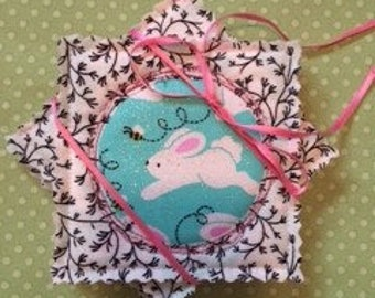 Coasters for CHARITY quilted set of 4 bunny and bees