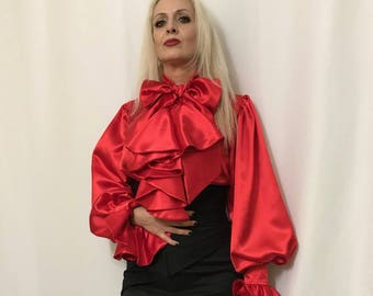 Fashionable Look Frilly Ruffled Blouse in Red Satin Sizes S M L XL XXL 3XL Medieval Re-enactments, Renaissance shirt