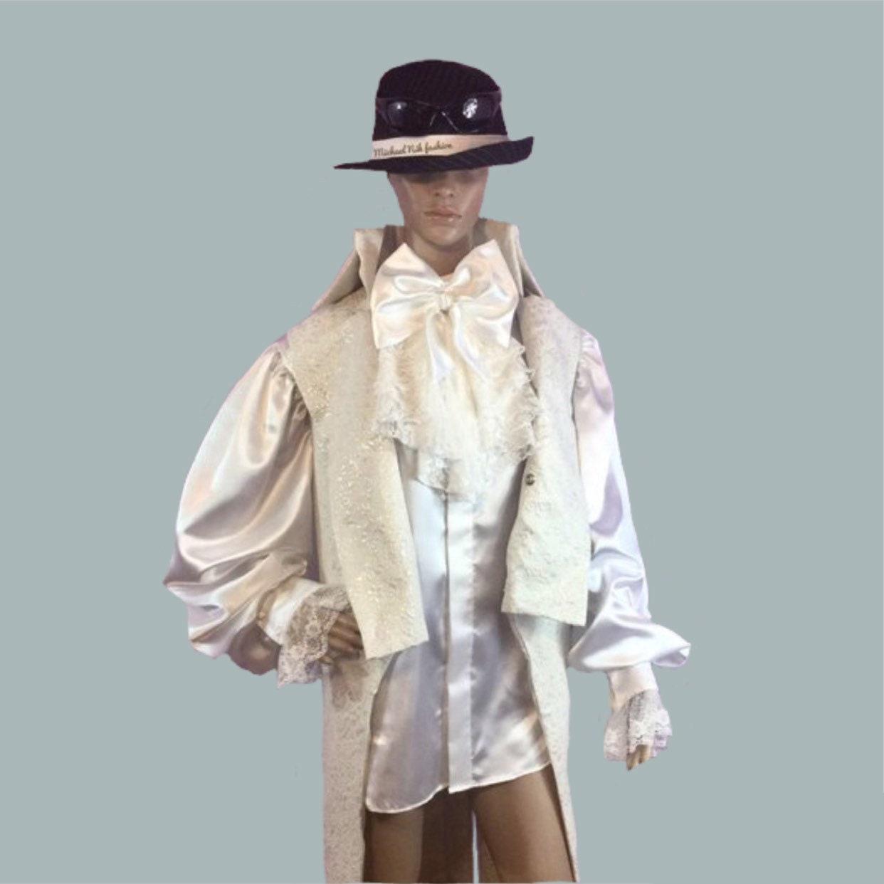 100 Silk Renaissance Styled Collarless Dress Shirt In White Etsy