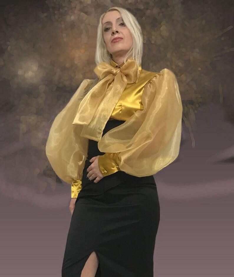 Stylish Tie Sleeved Satin /& Organza Blouse Neck Balloon