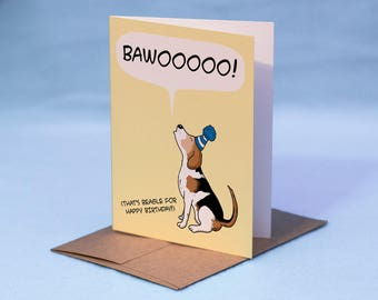 BEAGLE BIRTHDAY CARD - Cartoon Beagle Birthday Card - That's Beagle for Birthday Dog Birthday Card - Beagle Greeting Card