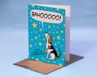 BEAGLE CONGRATULATIONS CARD - Cartoon Beagle Congrats Card - That's Beagle for Congratulations Congrats Card - Beagle Congrats Card