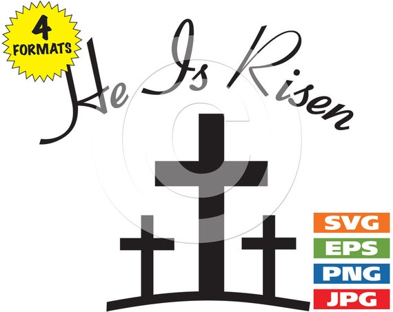 he is risen with 3 crosses clip art image svg cutting file rh etsy com he is risen clipart images he is risen clip art images