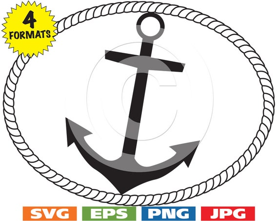 Oval Rope Border With Anchor Clip Art Image Svg Cutting File Etsy