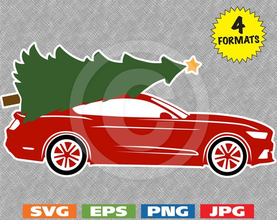 2015 Muscle Car With A Christmas Tree On The Roof Svg Etsy