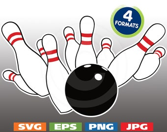 3-Color Bowling Strike Image - svg cutting files PLUS eps/vector, jpg, png - 300dpi