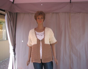 Crochet Tan and Cream Short Sleeve Sweater