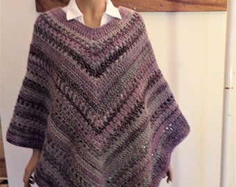 Purple, Orchid and Aqua Varigated Crocheted Poncho