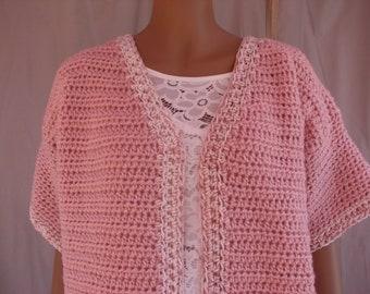 Crochet Blush w/ Blush and White Varigated Short Sleeve Sweater