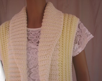 Crochet Yellow and White Vest