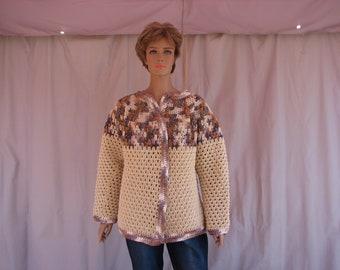 Crochet Beige w/ Earthtone Varigated Long Sleeve Sweater