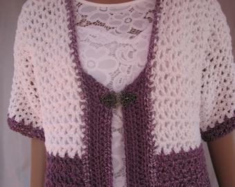 Crochet Purple and White Short Sleeve Sweater