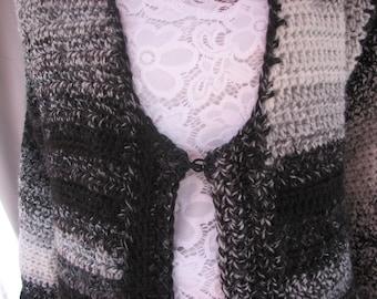 Crochet Black and White Varigated Long Sleeve Sweater
