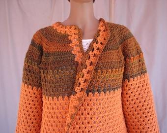 Crochet Pumpkin w/ Gray and Pumpkin Varigated Long Sleeve Sweater