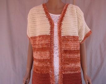 Crochet Cream , Rust and Varigated Short Sleeve Sweater
