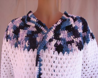 Crochet White w/ Blue, White and Orchid Varigated Long Sleeve Sweater