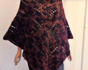 Rust & Black Varigated Crocheted Poncho