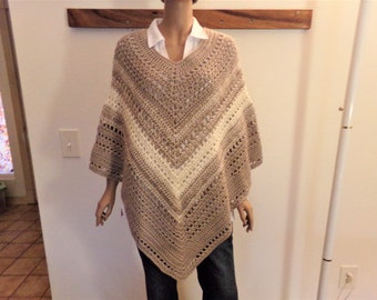 Taupe and Cream Varigated Crocheted Summer Poncho