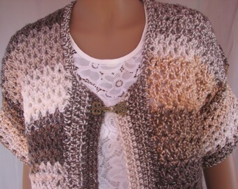 Crochet Brown Varigated Short Sleeve Sweater