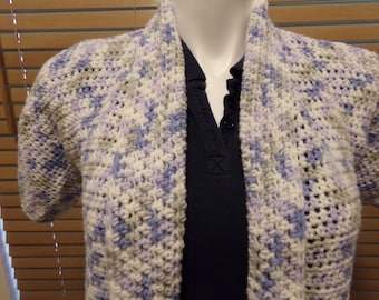 Blue, Gray and White Varigated Crochet Short Sleeve Sweater