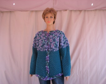 Crochet Green w/ Green and Orchid Varigated Long Sleeve Sweater