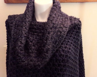 Navy with Blue Varigated Stripe Turtleneck Crocheted Poncho