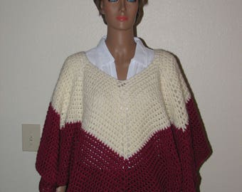Cranberry and Cream Crochet Poncho
