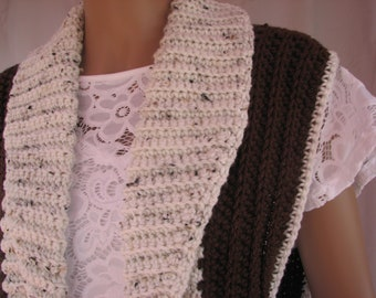 Crochet Brown w/ Oatmeal trim Vest