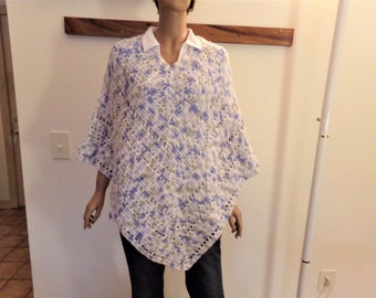 Gray, Blue & White Varigated Crocheted Summer Poncho