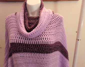 Orchid and Purple Varigated Turtleneck Crocheted Poncho