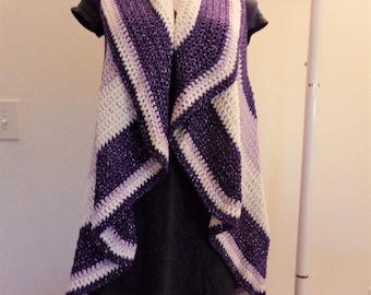 Purple Orchid and White Metallic Crochet Circular