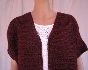 Crochet Cranberry Short Sleeve Sweater