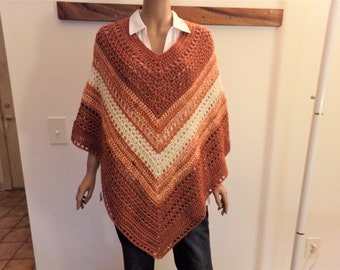 Rust and Cream Varigated Crocheted Summer Poncho