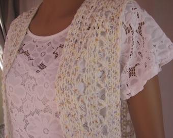 Crochet  Cream Spotted Duster