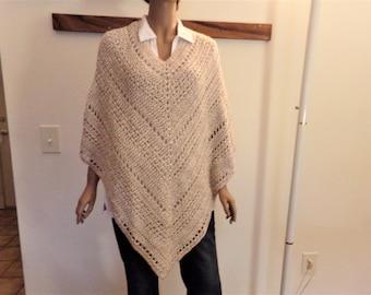 Beige & Cream Varigated Crocheted Summer Poncho