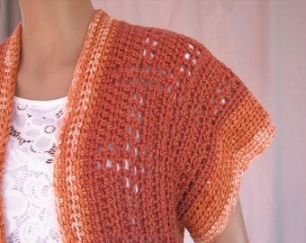 Crochet Rust Lacy Vest