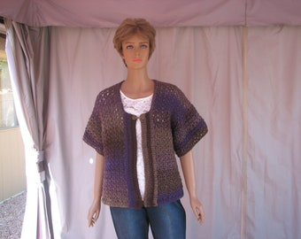 Crochet Purple Varigated Short Sleeve Sweater